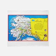 Alaska Map Greetings Throw Blanket
