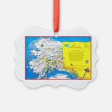 Alaska Map Greetings Ornament