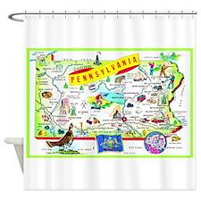 Pennsylvania Map Greetings Shower Curtain