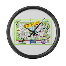 Pennsylvania Map Greetings Large Wall Clock