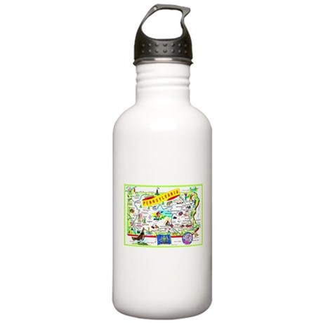 Pennsylvania Map Greetings Stainless Water Bottle