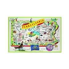 Pennsylvania Map Greetings Rectangle Magnet