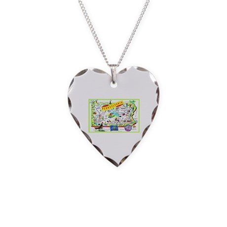 Pennsylvania Map Greetings Necklace Heart Charm
