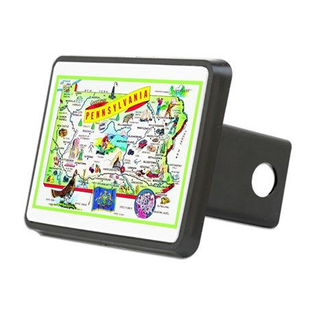 Pennsylvania Map Greetings Rectangular Hitch Cover
