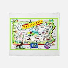 Pennsylvania Map Greetings Throw Blanket