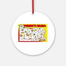 Pennsylvania Map Greetings Ornament (Round)