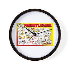 Pennsylvania Map Greetings Wall Clock