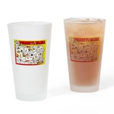 Pennsylvania Map Greetings Drinking Glass