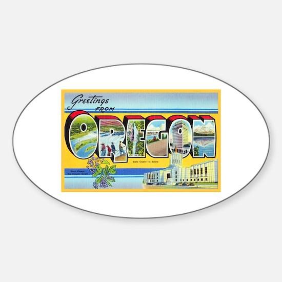 Oregon Greetings Sticker (Oval)