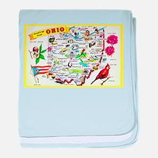 Ohio Map Greetings baby blanket