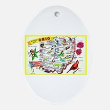 Ohio Map Greetings Ornament (Oval)