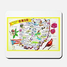 Ohio Map Greetings Mousepad