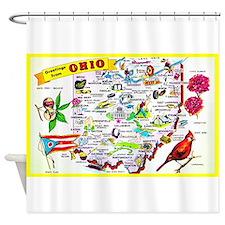 Ohio Map Greetings Shower Curtain