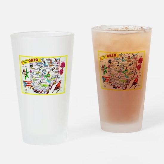 Ohio Map Greetings Drinking Glass