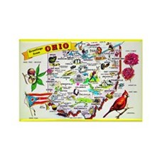 Ohio Map Greetings Rectangle Magnet