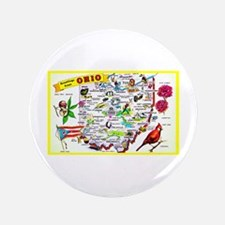 "Ohio Map Greetings 3.5"" Button"