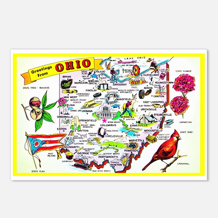 Ohio Map Greetings Postcards (Package of 8)