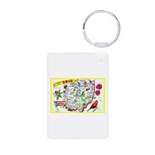 Ohio Map Greetings Keychains