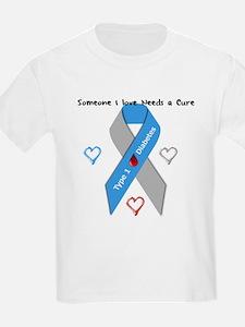 Type 1 Diabetes Awareness Ribbon Love Cure T-Shirt
