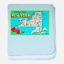 New York Map Greetings baby blanket