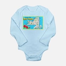 New York Map Greetings Long Sleeve Infant Bodysuit