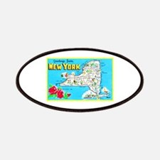 New York Map Greetings Patches