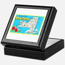 New York Map Greetings Keepsake Box
