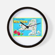 New York Map Greetings Wall Clock
