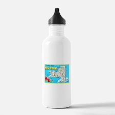 New York Map Greetings Water Bottle