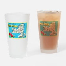 New York Map Greetings Drinking Glass