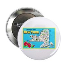 """New York Map Greetings 2.25"""" Button"""