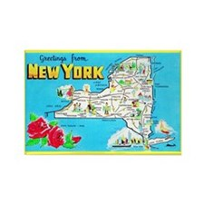 New York Map Greetings Rectangle Magnet