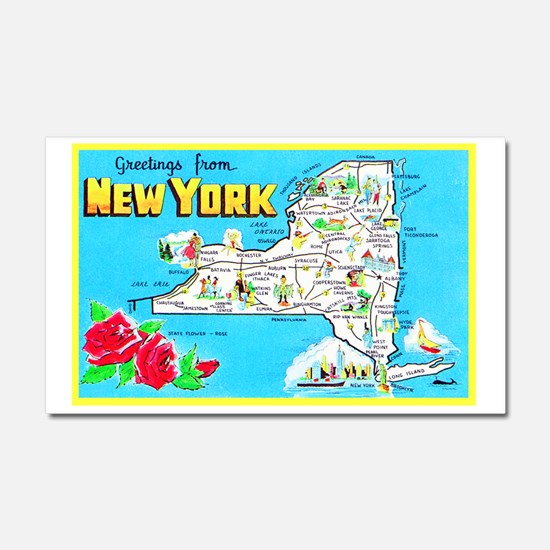 New York Map Greetings Car Magnet 20 x 12