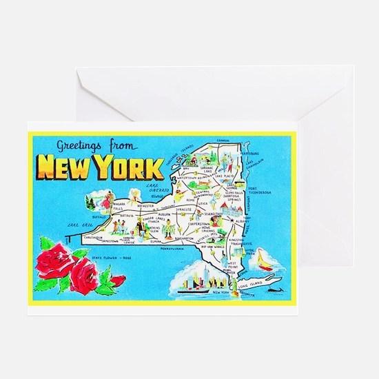 New York Map Greetings Greeting Card