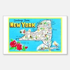 New York Map Greetings Sticker (Rectangle)