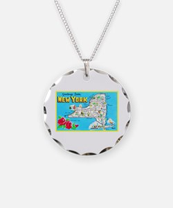 New York Map Greetings Necklace
