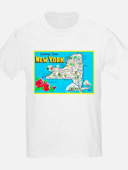 New York Map Greetings T-Shirt