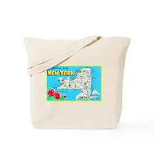 New York Map Greetings Tote Bag