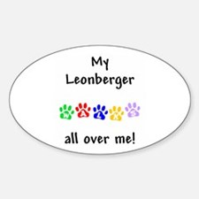 Leonberger Walks Oval Decal