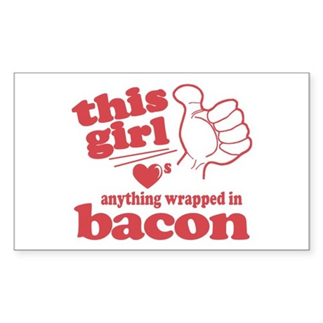 Girl Hearts Bacon Sticker (Rectangle)