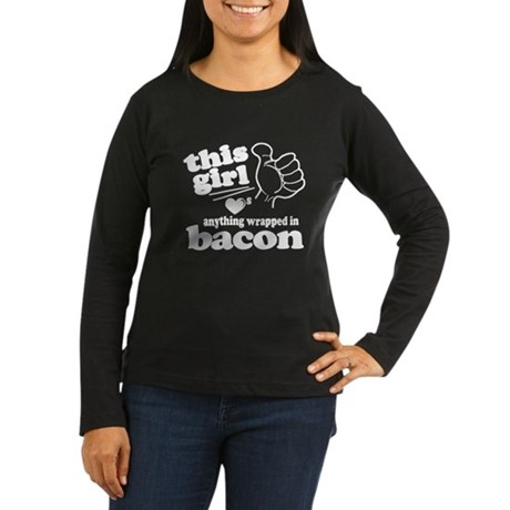Girl Hearts Bacon Women's Long Sleeve Dark T-Shirt