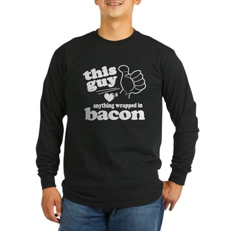 Guy Hearts Bacon Long Sleeve Dark T-Shirt