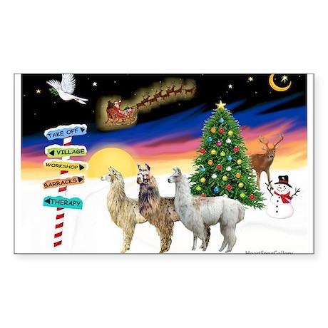 XmasSigns-3 Llamas Sticker (Rectangle)
