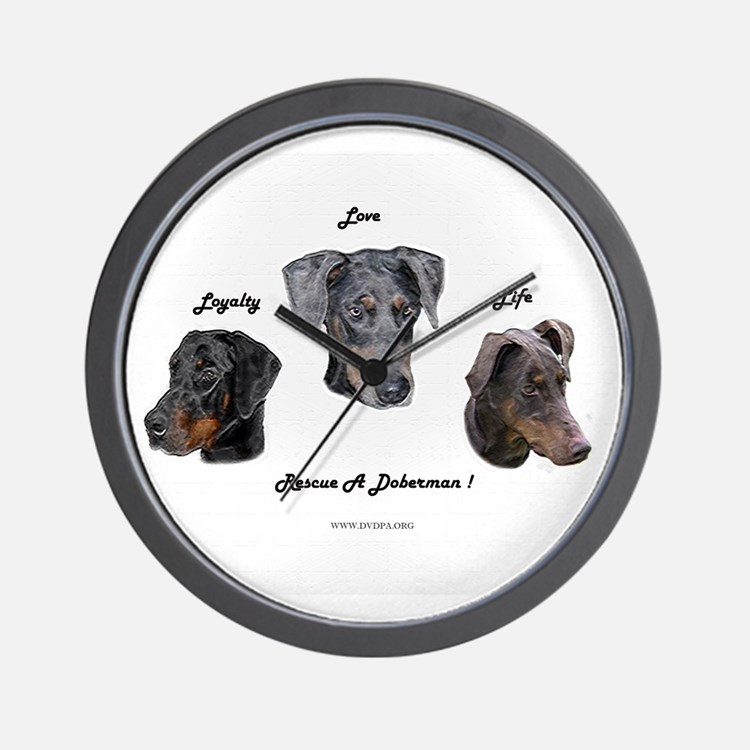 Cute Doberman rescue Wall Clock