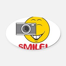 smiley73.png Oval Car Magnet