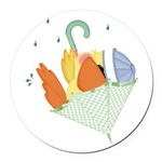 baby duck in umbrella.png Round Car Magnet