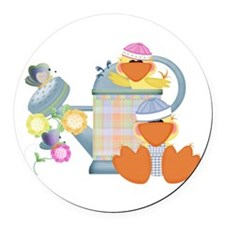 baby ducks and watering can.png Round Car Magnet