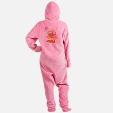 baby girl spring ducky.png Footed Pajamas