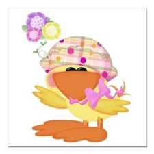 """baby girl spring ducky.png Square Car Magnet 3"""" x"""