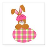 bunny with plaid egg.png Square Car Magnet 3